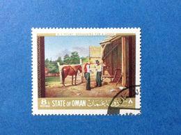 STATE OF OMAN ARTE QUADRO DIPINTO W S MOUNT 8 B FRANCOBOLLO USATO STAMP USED - Oman