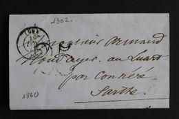 1851 LAC PARIS CAD DU 17/15/1851 POUR LE LUART(SARTHE) PAR CONNERE CAD D ARRIVE PARTIEL.TAXE TAMPON 25 CENTIMES. - Marcophilie (Lettres)