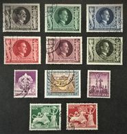 1942-1943 Geburtstag Hitlers Mi.844-849, SA Mi.818, Henlein Mi.819, Tag Der Briefmarke 828, Goldschmiedekunst 816-817 - Gebraucht
