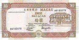BILLETE DE MACAO DE 10 PATACAS DEL AÑO 1991 SIN CIRCULAR - UNCIRCULATED  (BANKNOTE) - Macau