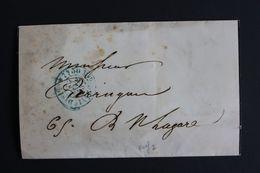 1853 PARIS POUR PARIS CACHET BLEU PORT DÛ 15C 1ERE DISTRI. - 1801-1848: Précurseurs XIX