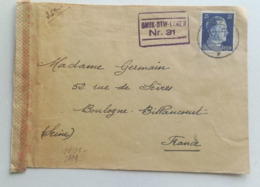 COVER 1943 - BRUX-STW-1 AGER Nr.31 -  To BOULOGNE BILLANCOURT France - Duitsland
