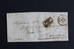 1857 LAC LYON CAD DU 21/02/1857 POUR BOURGOIN MARQUE APRES LE DEPART CAD ARRIVEE DU 22/02/1857 TAXE TAMPON 30C. - 1849-1876: Klassik