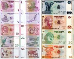 CONGO D.R. Set (9 V) 1 5 10 20 50 Centimes 10 20 50 100 Francs 1997 - 2013 P 80 - 98 UNC - Congo