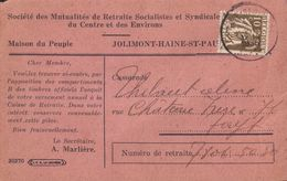 Jolimont Haine St-Paul Société Des Mutualités De Retraite Socialistes 1935 (9 X 14cm) - La Louvière