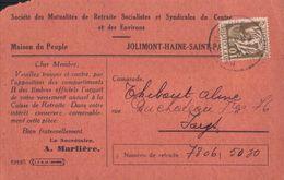 Jolimont Haine St-Paul Société Des Mutualités De Retraite Socialistes 1934 (9 X 14cm) - La Louvière