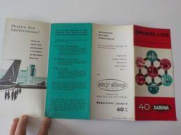 1963 Aviation Dépliant 40 Ans D' Expérience Sabena Bruxelles Coeur Du Marché Commun Atomium - Advertisements