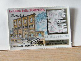 GV- 1 GRATTA E VINCI -  LE CITTÀ DELLA FORTUNA -  AOSTA -  BIGLIETTO N° 44-055738-198 - Biglietti Della Lotteria