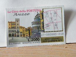 GV- 3 GRATTA E VINCI -  LE CITTÀ DELLA FORTUNA -  AREZZO -  BIGLIETTO N° 47-060985-218 - Biglietti Della Lotteria