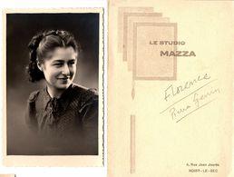 Pochette & Carte Photo Originale Portrait Au Studio Mazza - Florence & Pierre Genin De Noisy-Le-Sec 1940/50 - Pin-up