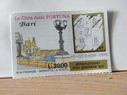 GV- 6 GRATTA E VINCI -  LE CITTÀ DELLA FORTUNA -  BARI -  BIGLIETTO N° 45-059409-085 - Biglietti Della Lotteria