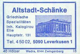 1 Altes Gasthausetikett, Altstadt-Schänke, Inh. Kalogirou Elie5090Leverkusen 1Hauptstr. 131 #930 - Boites D'allumettes - Etiquettes