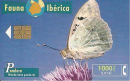 -CARTE-PUCE-ESPAGNE-1000Pts-09/99-PAPILLON PANDORA-TBE - Papillons