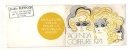 Petit Calendrier Agenda Coiffure 1971 Avec Photo D'une Modèle Avec Coiffure - Jackie Batisse Clermont-Ferrand - Calendriers