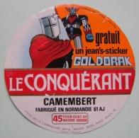 """Etiquette Camembert - Le Conquérant - Fromagerie Gecodi 61AJ Pub """"Goldorak"""" Normandie - Orne   A Voir ! - Fromage"""