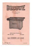 Buvard Becuwe Paris Réchaud Four 307 La Cuisine Au Gaz De Ville Butagaz - Format : 13.5x21cm - Vloeipapier