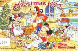 Télécarte Japon / 110-135028 - DISNEY Disneyland - NOEL 1992 (6502) Train Ciseaux Poupée Teddy CHRISTMAS Japan Phonecard - Disney
