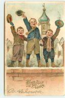 N°15524 - Carte Gaufrée - Bonne Et Heureuse Année - Garçons Sur Un Mur - Neujahr