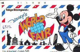 Télécarte Japon 110-122717  DISNEY New York Statue Liberté Paris Tour Eiffel Moulin Pyramide Pisa (6512) Japan Phonecard - Disney