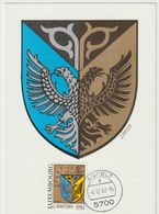 Carte Maximum LUXEMBOURG N°Yvert 1014 (ARMOIRIES FRISANGE) Obl Sp Aspelt 1982 - 1934-1951