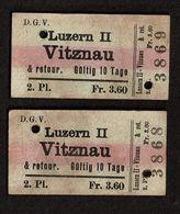 Suisse - 1924 - 2 Tickets Luzern II - Vitznau - 2 Scans - Chemins De Fer