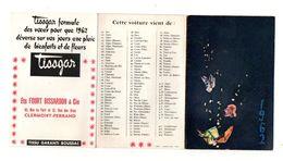 Petit Calendrier 1962 Mouchoirs Tissgar Ets Fourt Bissardon & Cie Clermont-Ferrand - Format :22.5x11.5 Cm Déplié - Calendriers