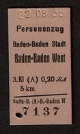Allemagne / Deutschland - 1936 - Personenzug - Baden-Baden Stadt - West - 2 Scans - Trenes
