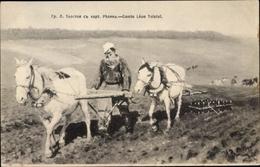 Artiste Cp Russland, Schriftsteller Lew Nikolajewitsch Tolstoi, Pferdepflug, Landwirtschaft - Russia