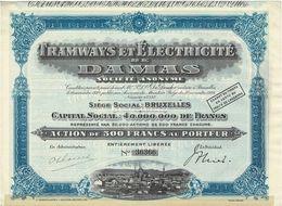 Titre Ancien - Tramways Et Electricité De Damas - Titre De 1928 - N° 36366 - Chemin De Fer & Tramway