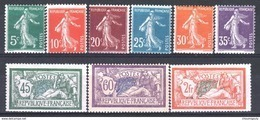 FRANCE ANNEE COMPLETE 1907 NEUVE Xx LUXE, 7 TIMBRES YVERT 137 / 145 , VALEUR: 346€ ! - ....-1939