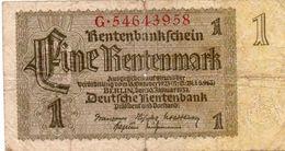 GERMANY-  1 RENTENMARK 1937  P-173b.1   CIRC. - Otros