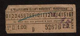 Ticket Tramway - L'Electrique Lille - Roubaix - Tourcoing - Au Dos Bon Pour Une Consultation Clinique Faid - 2 Scans - Tranvías