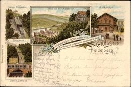 Lithographie Heidelberg Am Neckar, Ansichten Der Molkenkur, Station, Bergbahn - Autres