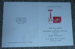 Document Illustré Edouard BERCK Tampons Premier 1er Jour 1966 Paris, Troisième Satellite Français D1 Fusée Diamant - 1970-1979