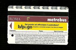 Biglietto Autobus E Metro Italia - Roma Tipo 11 - Metro