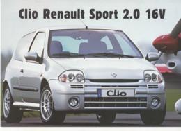 613  PUBLICITÉ  ANCIENNE BROCHURE RENAULT CLIO SPORT 2.0 16 V  Pub Automobile - Voitures