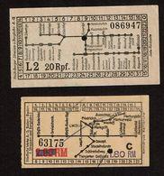 Allemagne - Ticket Tramway - Heidelberg Heidelberger Strassen-u-Bergbahn  / Städtische Werke AG Baden-Baden - 2 Scans - Tranvías
