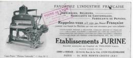 Buvard Usagé Illustration Machine D'imprimerie Etablissements JURINE à Lyon-Villeurbanne 1921 Cachet FOIRE LYON - Carte Assorbenti
