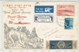 Israel - Burma Myanmar Rangoon, 1st Flight By Air France Registered Cover, 1957 - Myanmar (Birmanie 1948-...)