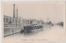 CPA  Batellerie  Puteaux  (92)  Le Steamer Maine à Quai  Près Usine    Ed  Rey Dos Préurseur - Pêche