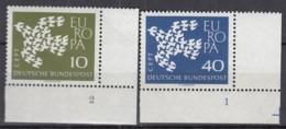 """BRD  367-368 X W, Eckrand Rechts Unten, Postfrisch **, Formnummer """"2-1"""", Europa CEPT 1961 - BRD"""