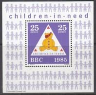 VIGNETTEN-Block: Children In Need, BBC 1985, 25 Pence, Teddybär - Vignetten (Erinnophilie)