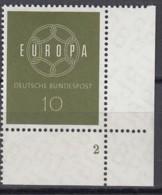"""BRD  320, Eckrand Rechts Unten, Postfrisch **, Formnummer """"2"""", Europa CEPT 1959 - BRD"""