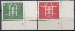 """BRD  406-407, Eckrand Rechts Unten, Postfrisch **, Formnummer """"3-4"""", Europa CEPT 1963 - BRD"""