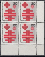 """BERLIN 321, 4erBlock, Eckrand Rechts Unten, Postfrisch **, Formnummer """"1"""", Dt. Turnfest 1968 - Unused Stamps"""