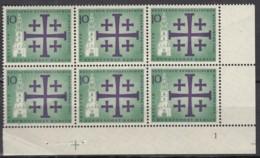 """BERLIN 215, 6erBlock, Eckrand Rechts Unten, Postfrisch **, Mit Formnummer """"1"""" Und Passerkreuz,Dt. Evang. Kirchentag 1961 - Unused Stamps"""