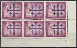 """BERLIN 216, 6erBlock, Eckrand Rechts Unten, Postfrisch **, Mit Formnummer """"2"""" Und Passerkreuz,Dt. Evang. Kirchentag 1961 - Unused Stamps"""
