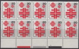 BERLIN 321, 10er-Einheit Mit Farbbalken Auf Rand, Postfrisch **, Dt. Turnfest 1968 - Unused Stamps