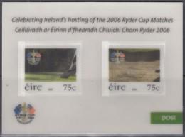 IRLAND  Block 61, Postfrisch **, Golfturnier Um Den Ryder Cup, Straffan, 3D, 2006 (Nominale 1,50 Euro) - Blocks & Sheetlets