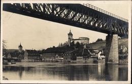 Cp Schaffhausen, Eisenbahnbrücke Und Der Munoth - SH Schaffhouse